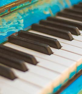 colourful piano and close up of keys