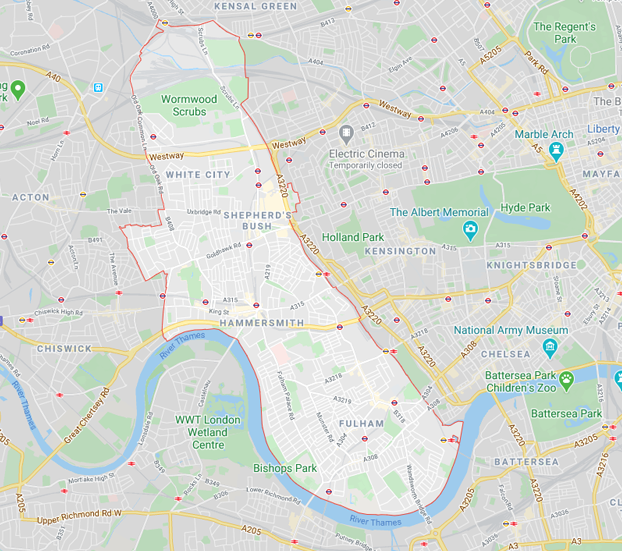 map of hammersmith and fulham